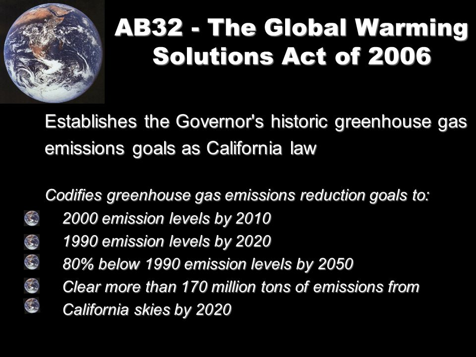 AB32 - The Global Warming Solutions Act of 2006 Establishes the Governor s historic greenhouse gas emissions goals as California law Codifies greenhouse gas emissions reduction goals to: 2000 emission levels by emission levels by emission levels by emission levels by % below 1990 emission levels by % below 1990 emission levels by 2050 Clear more than 170 million tons of emissions from Clear more than 170 million tons of emissions from California skies by 2020 California skies by 2020