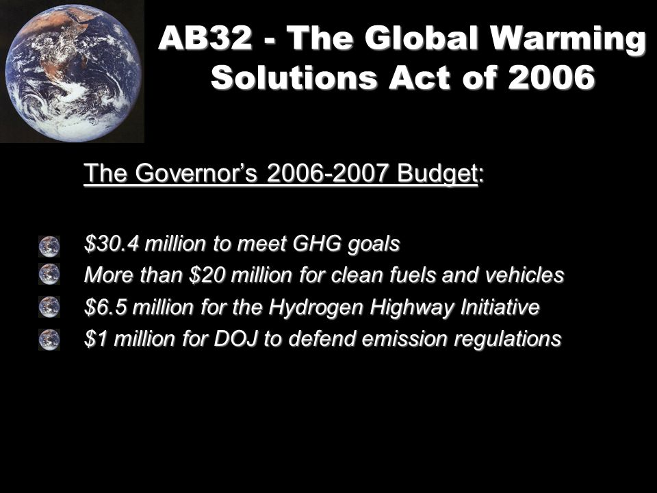 AB32 - The Global Warming Solutions Act of 2006 The Governor's Budget: $30.4 million to meet GHG goals More than $20 million for clean fuels and vehicles $6.5 million for the Hydrogen Highway Initiative $1 million for DOJ to defend emission regulations