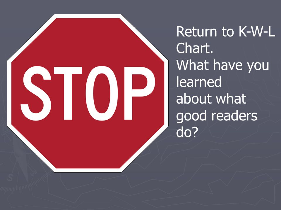 Return to K-W-L Chart. What have you learned about what good readers do