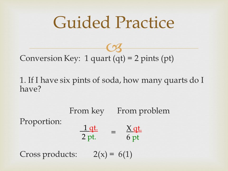 Converting Customary Units Using Proportions.  1 cup (c ...