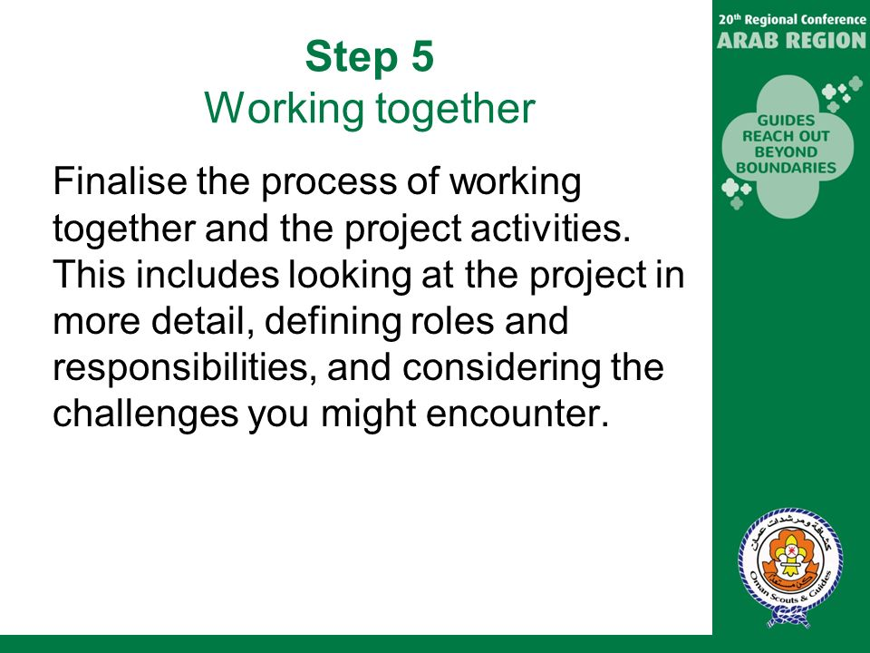 Step 5 Working together Finalise the process of working together and the project activities.