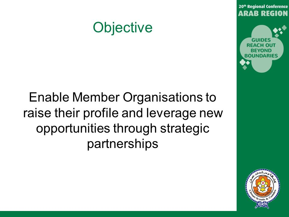 Objective Enable Member Organisations to raise their profile and leverage new opportunities through strategic partnerships