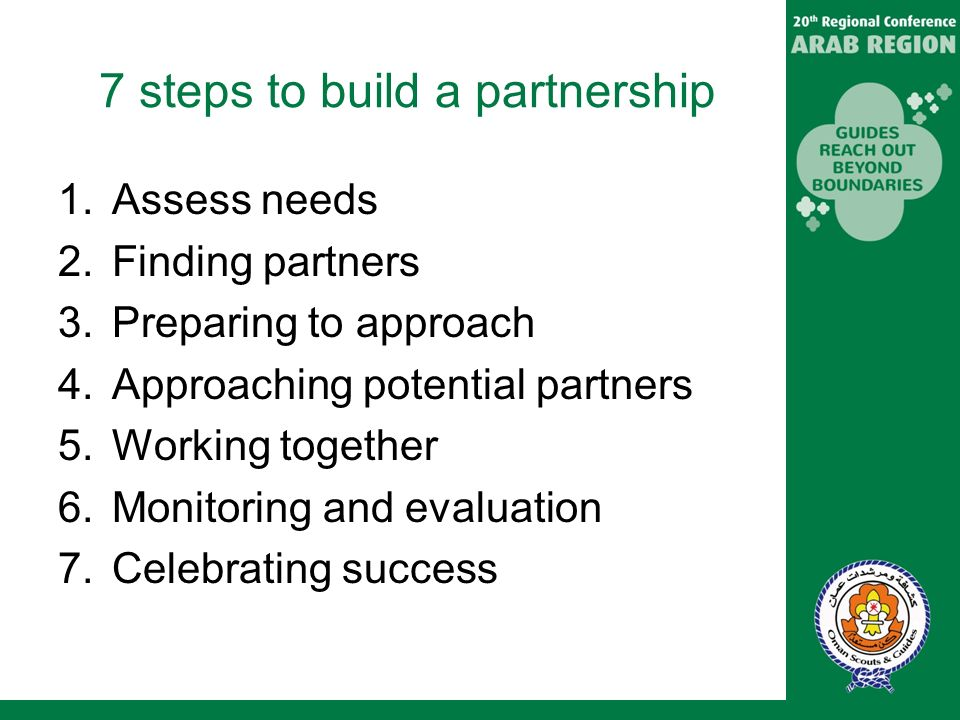 7 steps to build a partnership 1.Assess needs 2.Finding partners 3.Preparing to approach 4.Approaching potential partners 5.Working together 6.Monitoring and evaluation 7.Celebrating success
