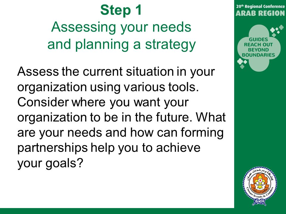 Step 1 Assessing your needs and planning a strategy Assess the current situation in your organization using various tools.