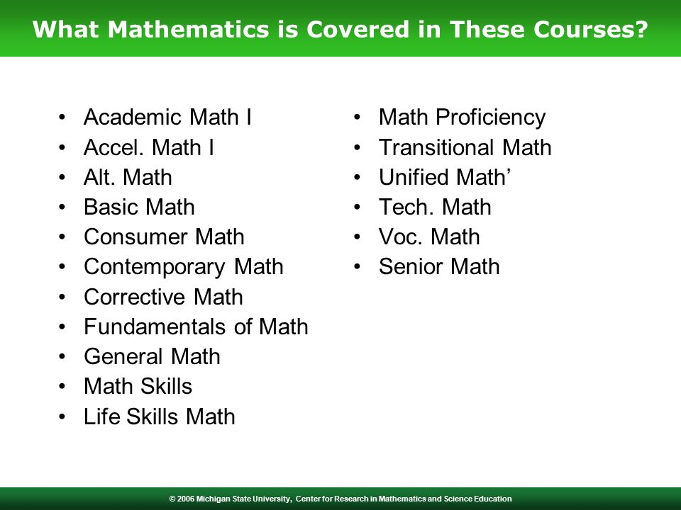 © 2006 Michigan State University, Center for Research in Mathematics and Science Education Academic Math I Accel.