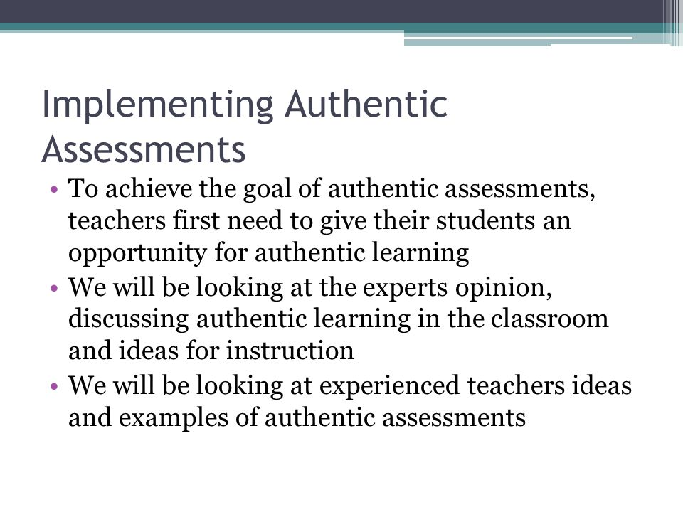 authentic assessment examples