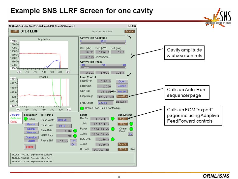 ORNL/SNS 8 Example SNS LLRF Screen for one cavity Calls up Auto-Run sequencer page Calls up FCM expert pages including Adaptive FeedForward controls Cavity amplitude & phase controls