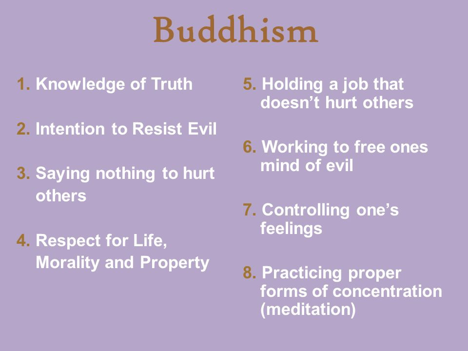 Buddhism 5. Holding a job that doesn't hurt others 6.