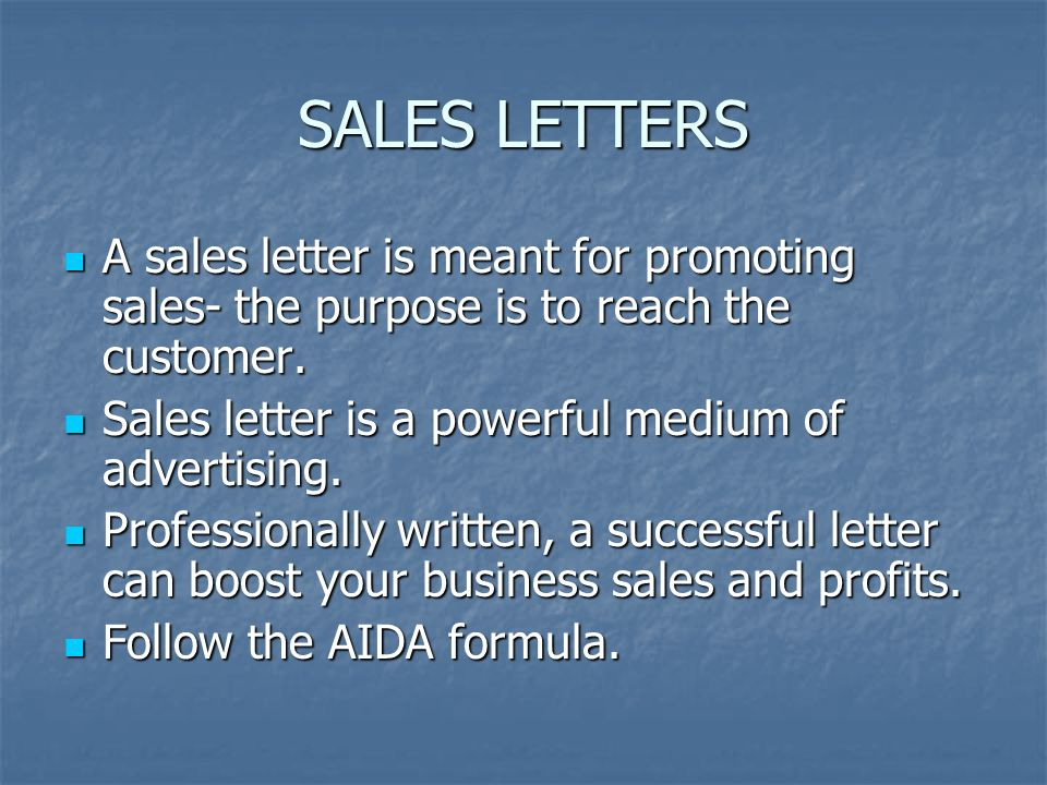 Kinds Of Business Letters Sales Letters A Sales Letter Is Meant For