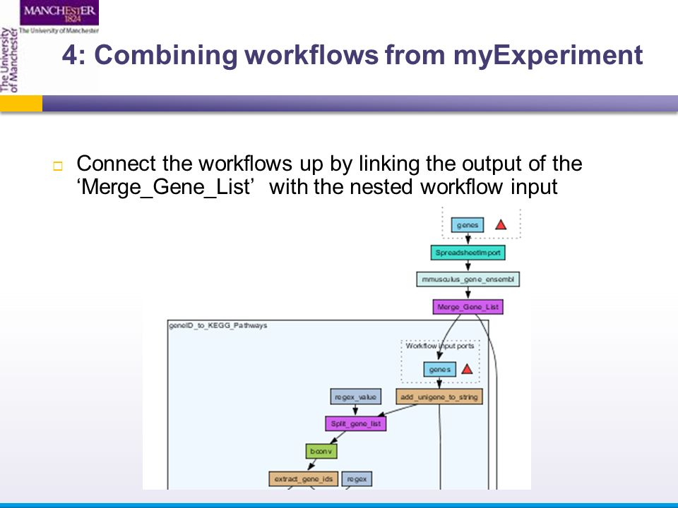  Connect the workflows up by linking the output of the 'Merge_Gene_List' with the nested workflow input