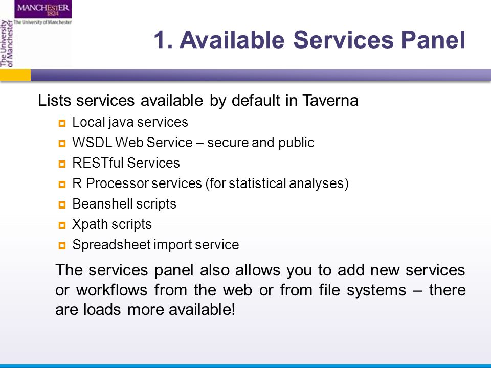 Lists services available by default in Taverna  Local java services  WSDL Web Service – secure and public  RESTful Services  R Processor services (for statistical analyses)  Beanshell scripts  Xpath scripts  Spreadsheet import service The services panel also allows you to add new services or workflows from the web or from file systems – there are loads more available!