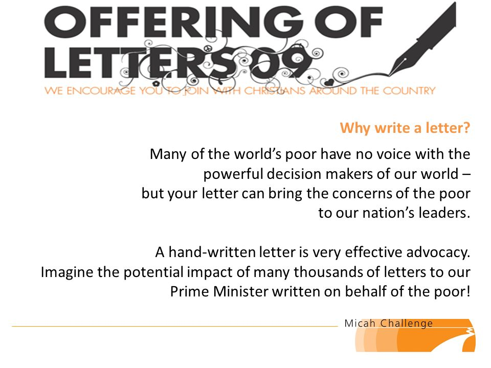 What Is An Offering Of Letters Its An Activity Of Micah Challenge