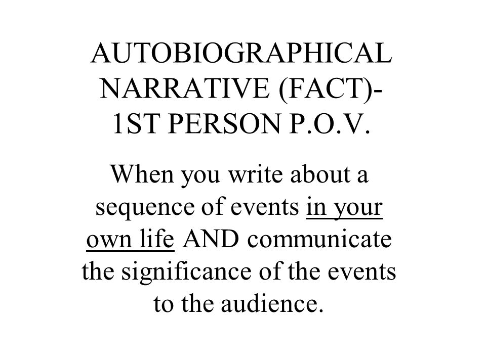 autobiographical essay prompt Start an autobiographical essay with a piquant sentence an autographical essay is a personal narrative written in the first person about your life and experiences universities often require this type of essay in admissions applications.