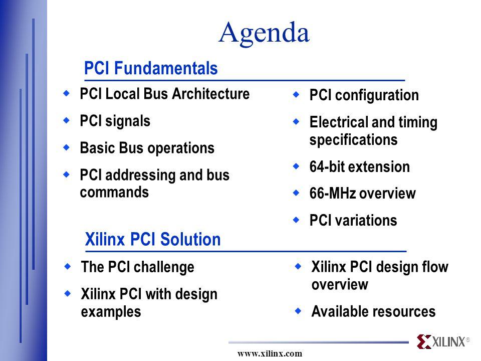 PCI Tutorial  ® Agenda  PCI Local Bus Architecture  PCI