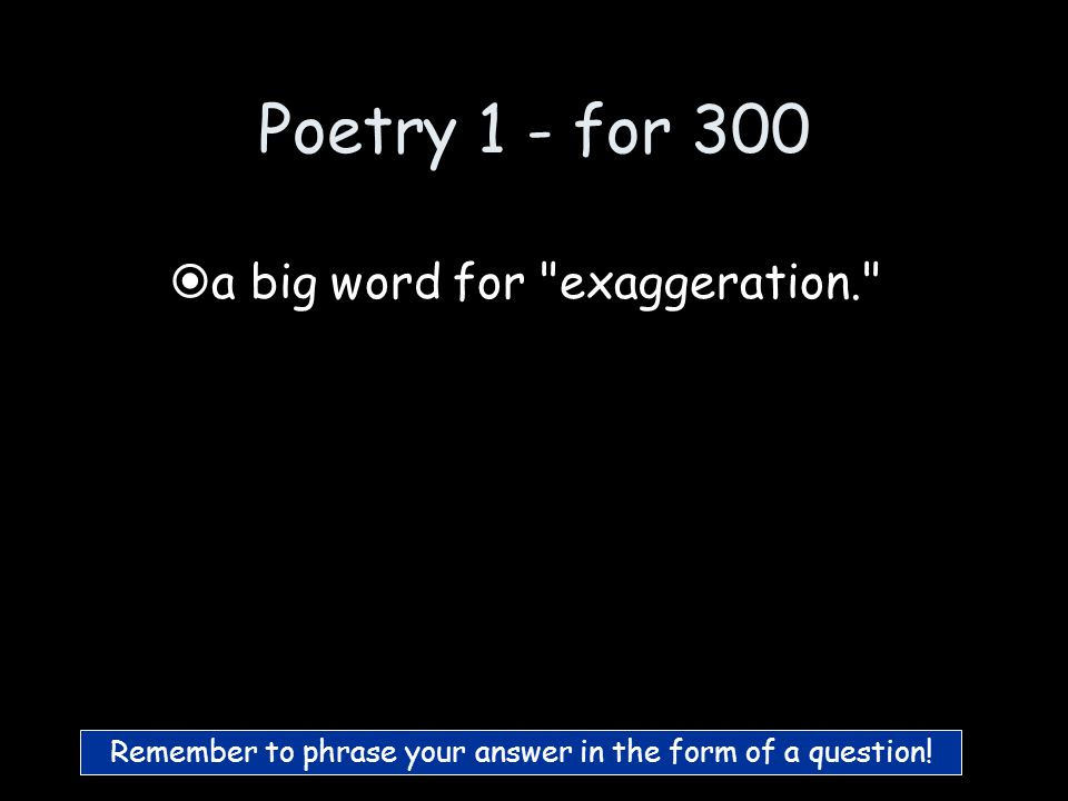 Poetry 1 - for 200 What is Simile