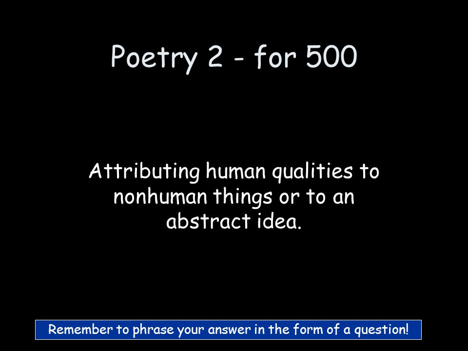 Poetry 2 - for 400 What is a Metaphor