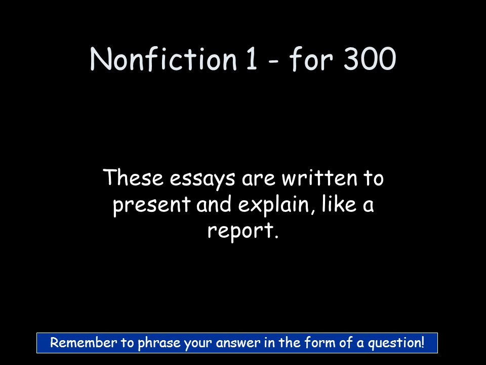 Nonfiction 1 - for 200 What are Descriptive essays