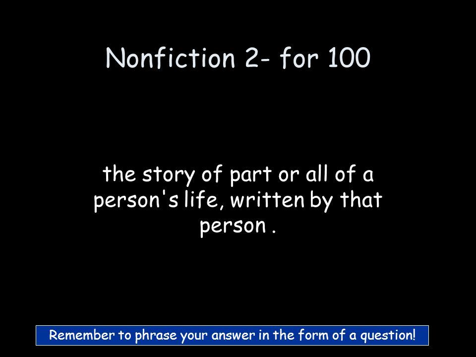 Nonfiction 1 - for 500 What is prose