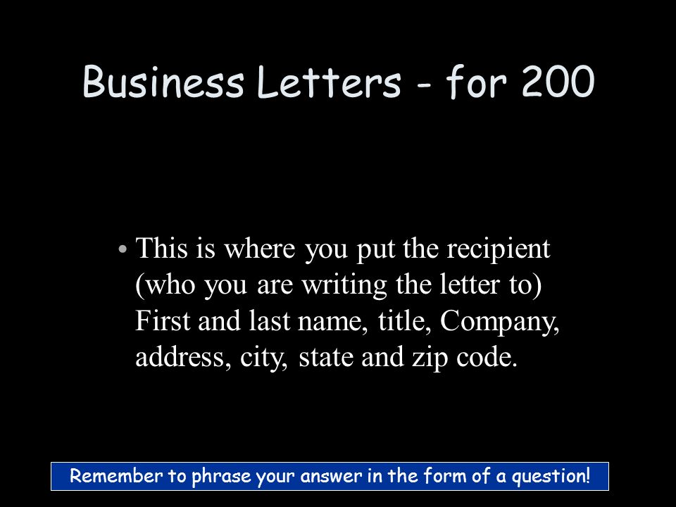 Business Letters - for 100 What is return address