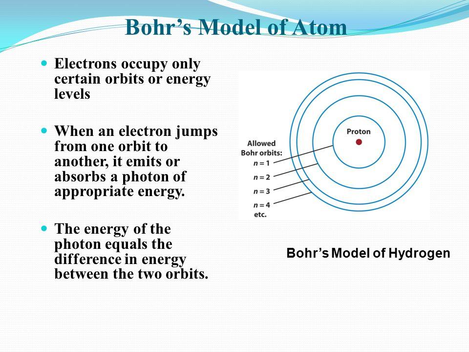 Electrons occupy only certain orbits or energy levels When an electron jumps from one orbit to another, it emits or absorbs a photon of appropriate energy.