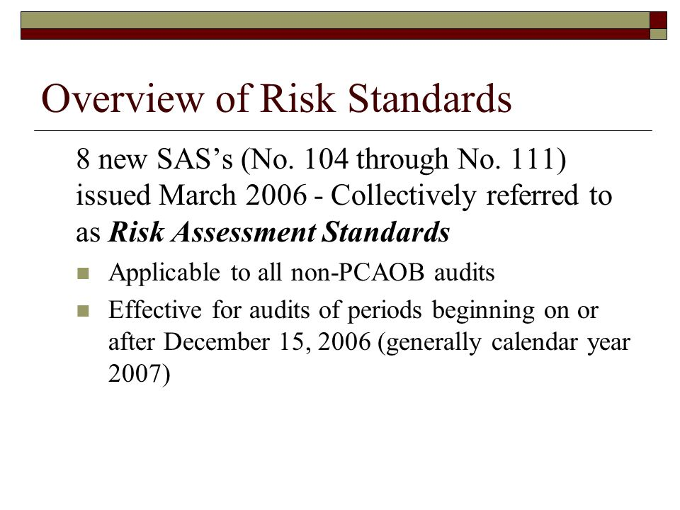 Overview of Risk Standards 8 new SAS's (No. 104 through No.