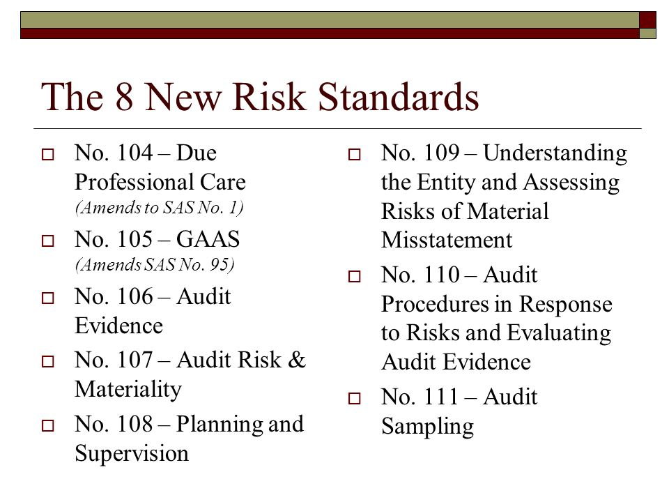 The 8 New Risk Standards  No. 104 – Due Professional Care (Amends to SAS No.
