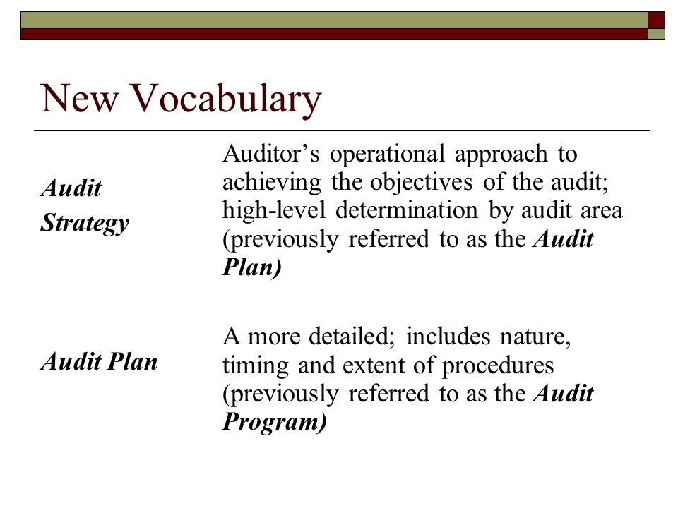New Vocabulary Audit Strategy Audit Plan Auditor's operational approach to achieving the objectives of the audit; high-level determination by audit area (previously referred to as the Audit Plan) A more detailed; includes nature, timing and extent of procedures (previously referred to as the Audit Program)