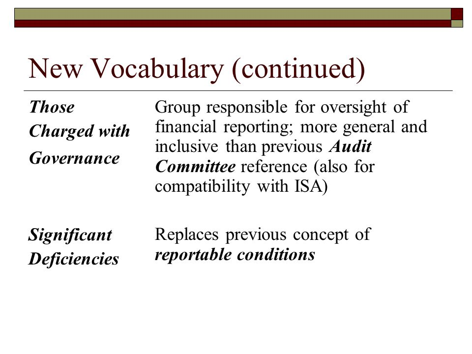New Vocabulary (continued) Those Charged with Governance Significant Deficiencies Group responsible for oversight of financial reporting; more general and inclusive than previous Audit Committee reference (also for compatibility with ISA) Replaces previous concept of reportable conditions