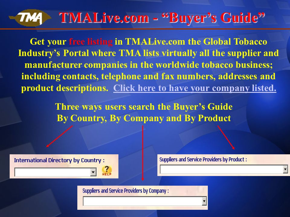 Tobacco Merchants Association (TMA) The Tobacco Industry