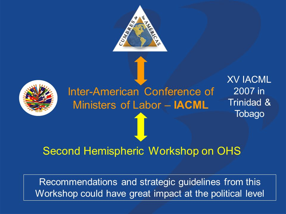 Second Hemispheric Workshop on OHS Inter-American Conference of Ministers of Labor – IACML Recommendations and strategic guidelines from this Workshop could have great impact at the political level XV IACML 2007 in Trinidad & Tobago