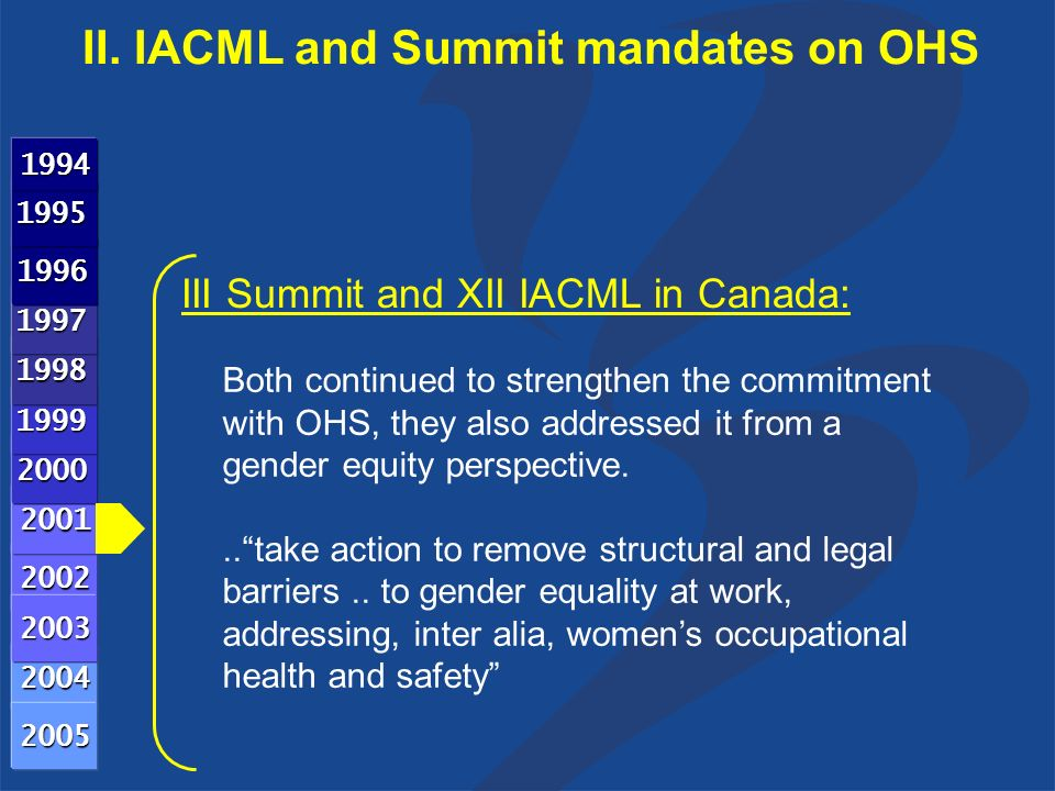 III Summit and XII IACML in Canada: Both continued to strengthen the commitment with OHS, they also addressed it from a gender equity perspective... take action to remove structural and legal barriers..