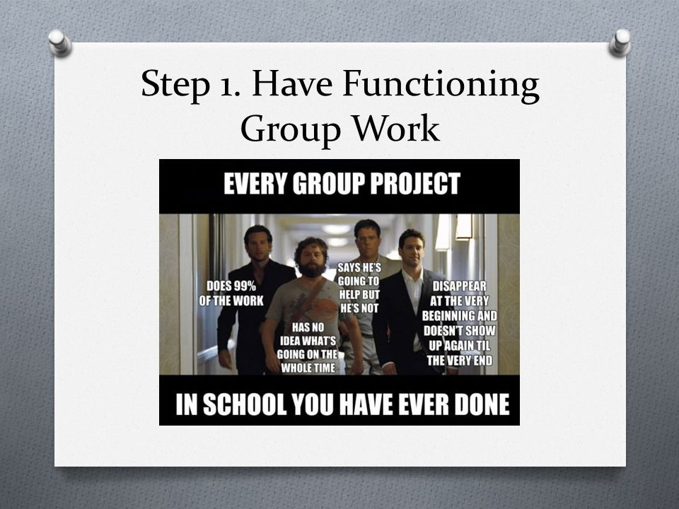 Step 1. Have Functioning Group Work