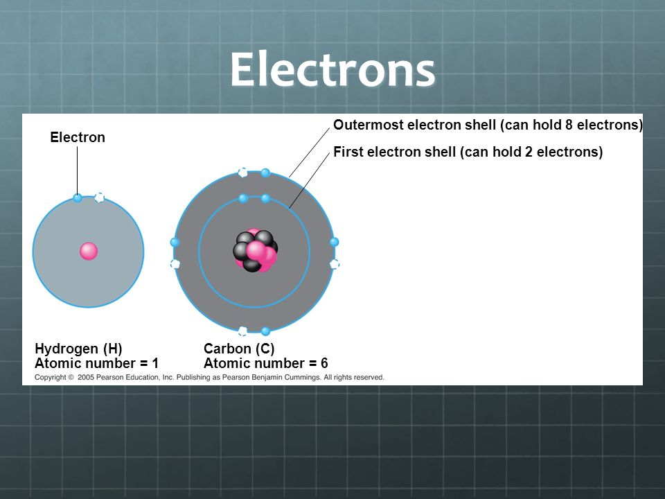 Electrons Electron Outermost electron shell (can hold 8 electrons) First electron shell (can hold 2 electrons) Hydrogen (H) Atomic number = 1 Carbon (C) Atomic number = 6