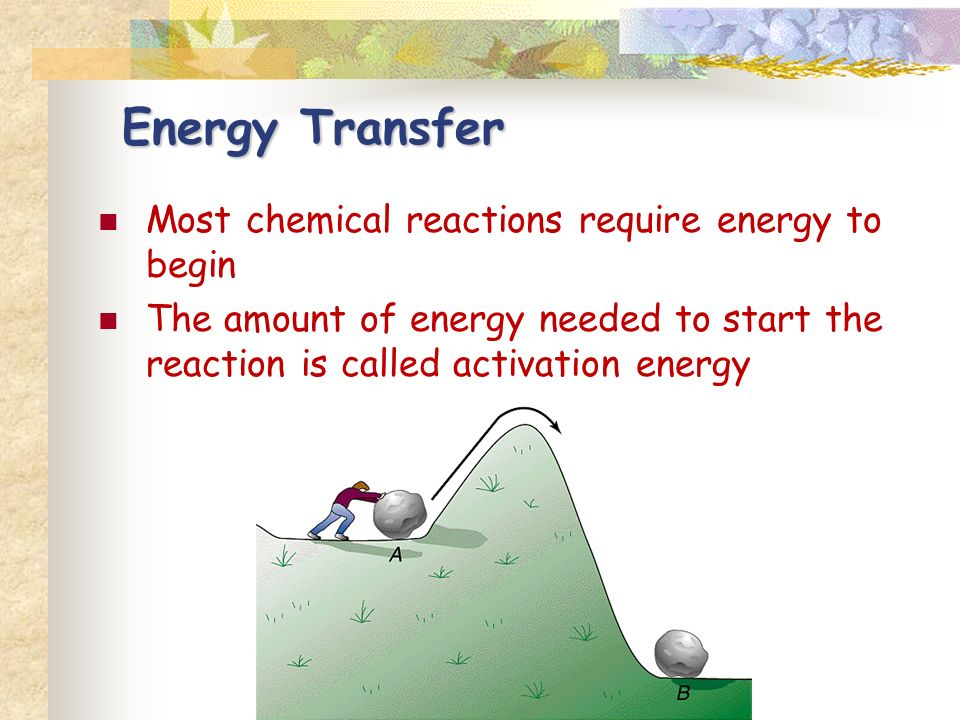 Most chemical reactions require energy to begin The amount of energy needed to start the reaction is called activation energy Energy Transfer