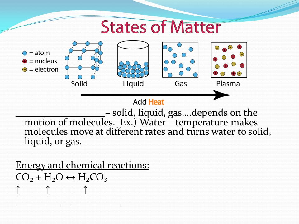 __________________– solid, liquid, gas….depends on the motion of molecules.
