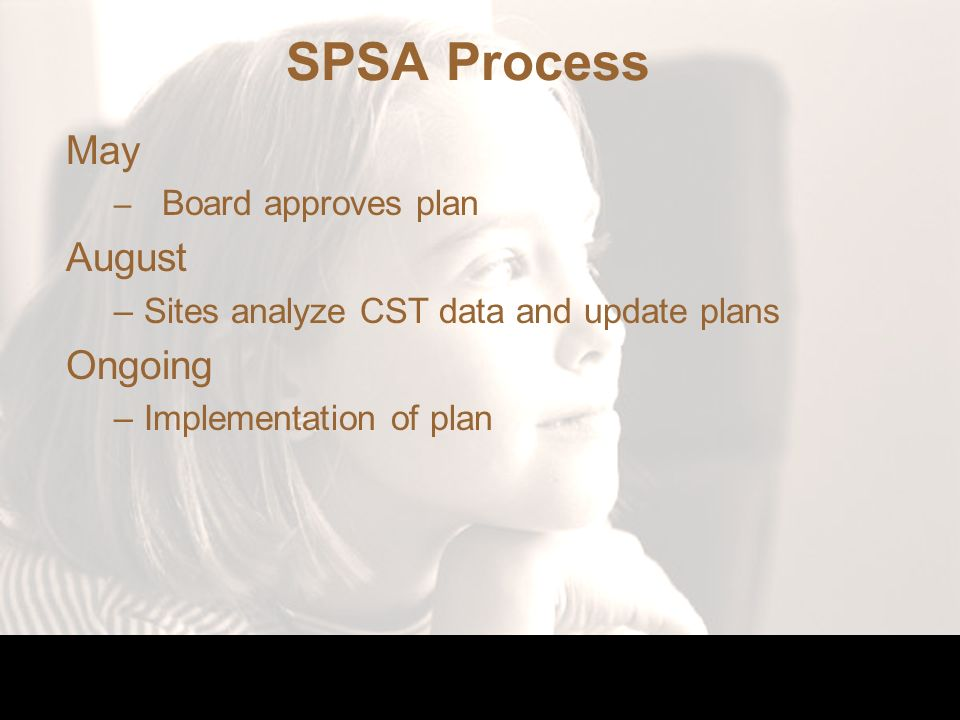 SPSA Process May – Board approves plan August –Sites analyze CST data and update plans Ongoing –Implementation of plan