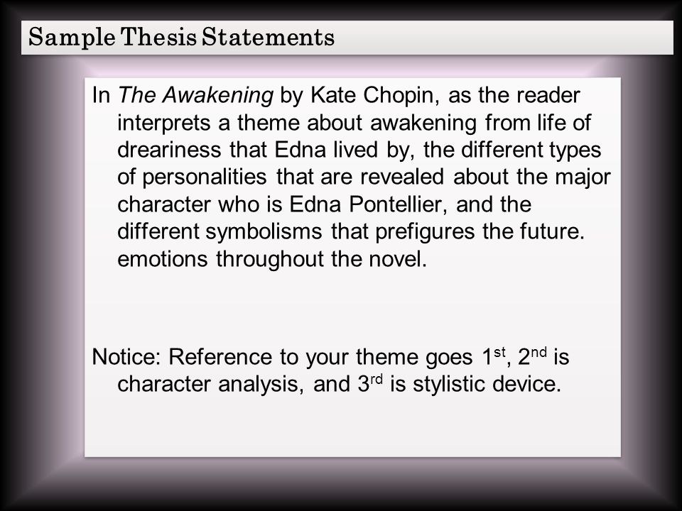 thesis statement for the awakening by kate chopin