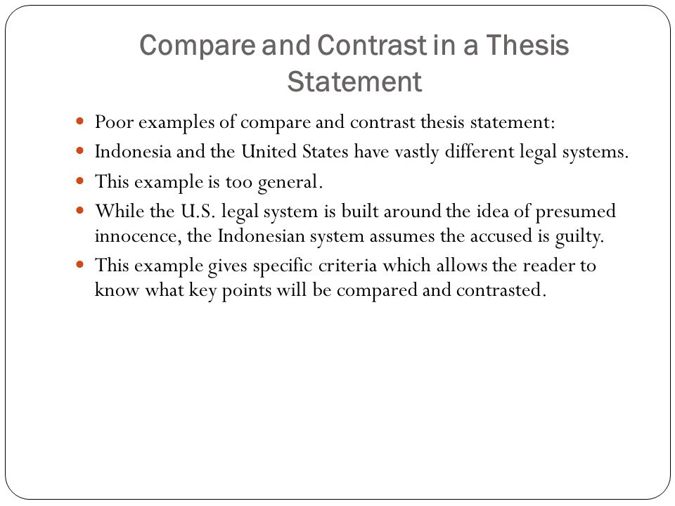 compare and contrast essay thesis statement generator Compare and contrast essay lab  working on each piece of the puzzle separately can be the key to creating a killer essay start with the thesis statement and then.