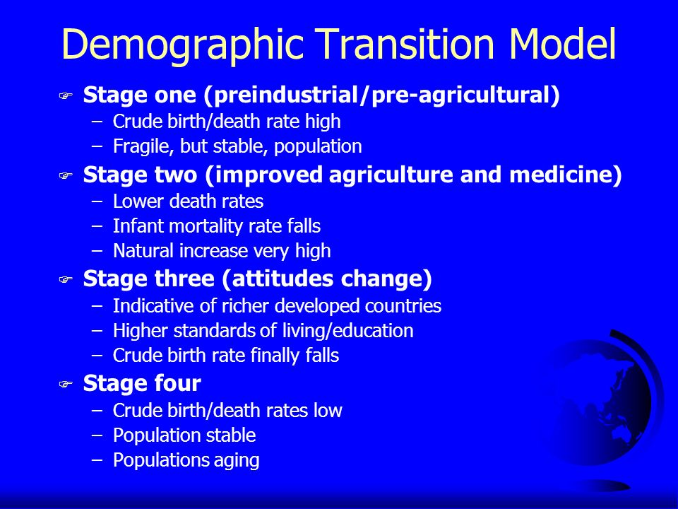 Demographic Transition Model F Stage one (preindustrial/pre-agricultural) –Crude birth/death rate high –Fragile, but stable, population F Stage two (improved agriculture and medicine) –Lower death rates –Infant mortality rate falls –Natural increase very high F Stage three (attitudes change) –Indicative of richer developed countries –Higher standards of living/education –Crude birth rate finally falls F Stage four –Crude birth/death rates low –Population stable –Populations aging
