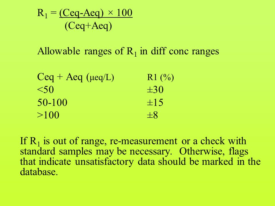 R 1 = (Ceq-Aeq) × 100 (Ceq+Aeq) Allowable ranges of R 1 in diff conc ranges Ceq + Aeq ( μeq/L)R1 (%) <50±30 50-100±15 >100±8 If R 1 is out of range, re-measurement or a check with standard samples may be necessary.