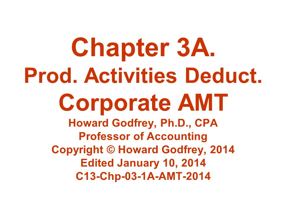 Chapter 3A. Prod. Activities Deduct.
