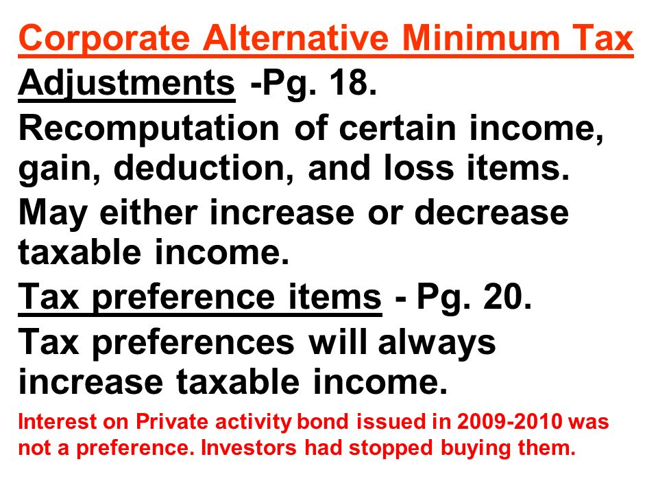 Corporate Alternative Minimum Tax Adjustments -Pg.