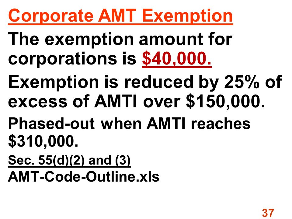 37 Corporate AMT Exemption The exemption amount for corporations is $40,000.