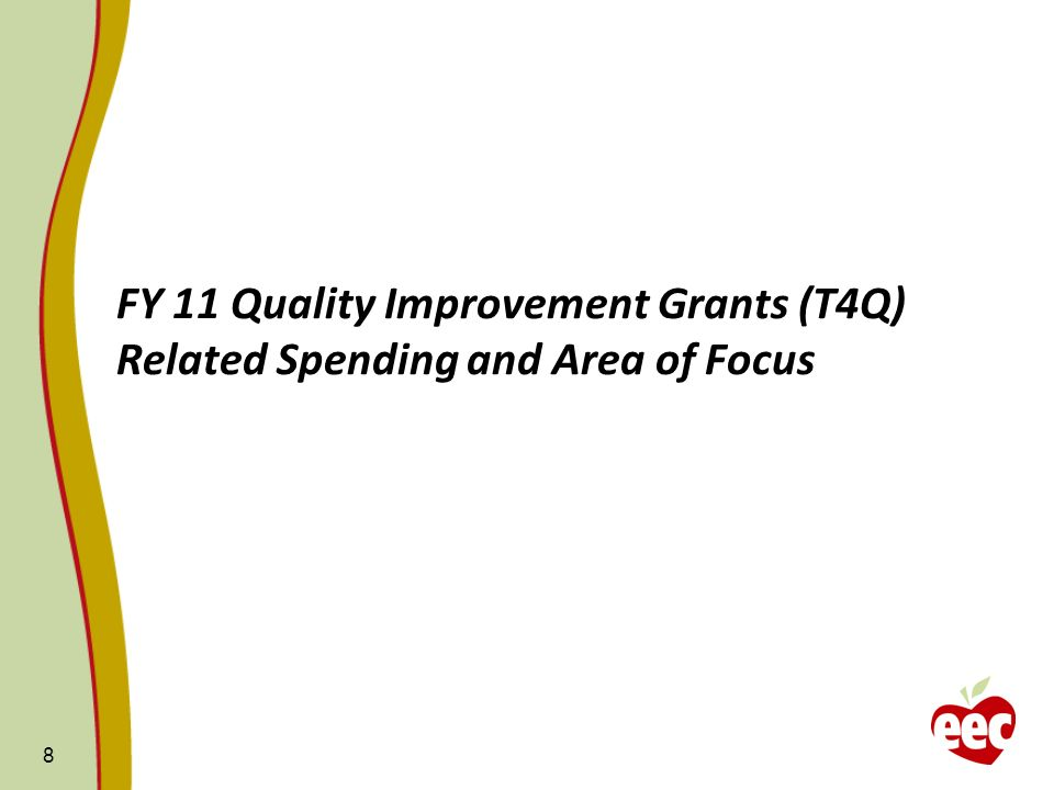 FY 11 Quality Improvement Grants (T4Q) Related Spending and Area of Focus 8