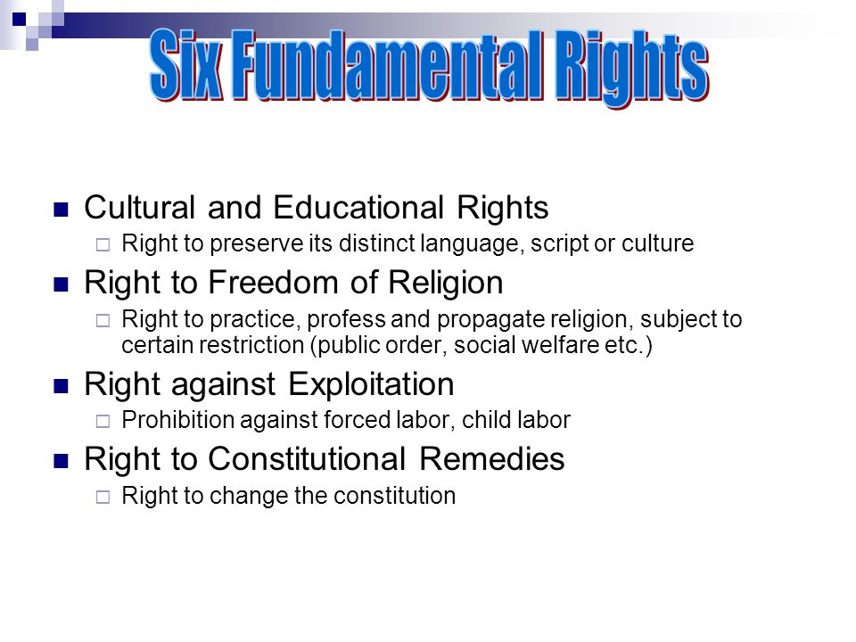 Cultural and Educational Rights  Right to preserve its distinct language, script or culture Right to Freedom of Religion  Right to practice, profess and propagate religion, subject to certain restriction (public order, social welfare etc.) Right against Exploitation  Prohibition against forced labor, child labor Right to Constitutional Remedies  Right to change the constitution