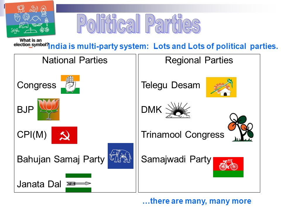 Regional Parties Telegu Desam DMK Trinamool Congress Samajwadi Party National Parties Congress BJP CPI(M) Bahujan Samaj Party Janata Dal India is multi-party system: Lots and Lots of political parties.