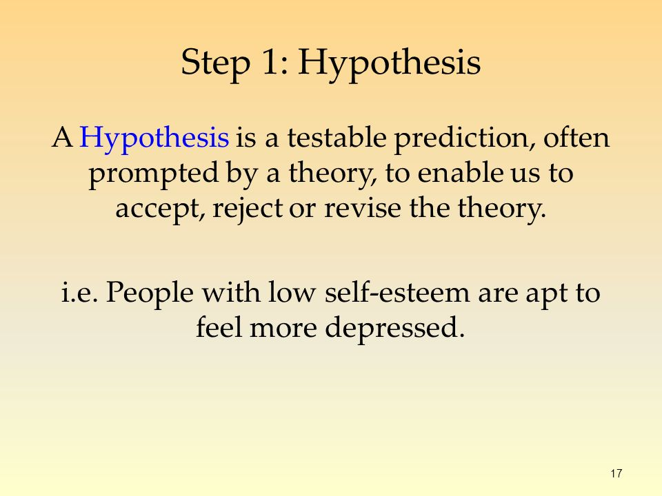 17 A Hypothesis is a testable prediction, often prompted by a theory, to enable us to accept, reject or revise the theory.
