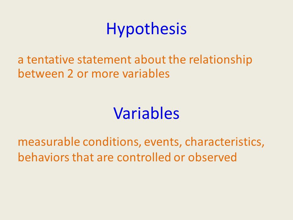 Hypothesis a tentative statement about the relationship between 2 or more variables measurable conditions, events, characteristics, behaviors that are controlled or observed Variables