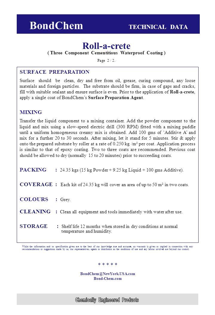 BondChem TECHNICAL DATA Roll-a-crete ( Three Component