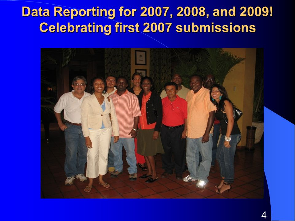 4 Data Reporting for 2007, 2008, and 2009! Celebrating first 2007 submissions